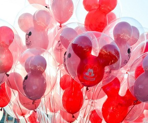 disney, balloons, and red image