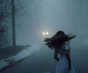 girl, fog, and night image