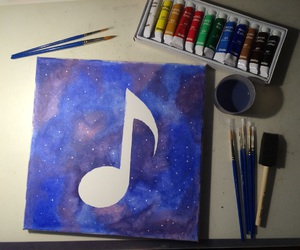 music, drawing, and galaxy image