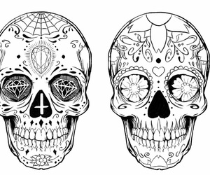 black and white, skull, and sugarskull image
