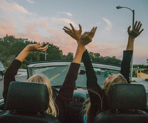 friends, car, and travel image