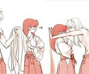 anime, inuyasha, and blush image