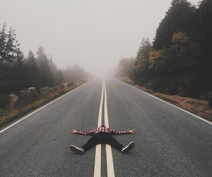 road, grunge, and forest image
