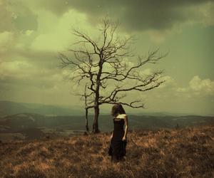 girl, tree, and magic image
