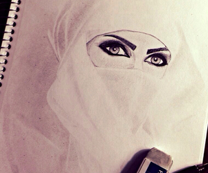 beautiful, draw, and hijab image