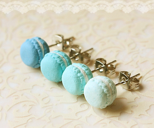 blue, earrings, and macaroons image