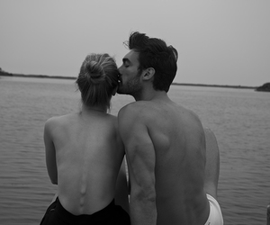 black and white, sea, and love image