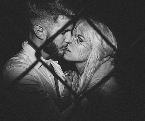 beard, black and white, and couple image