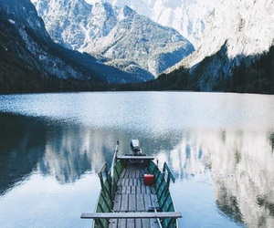 mountains, beautiful, and boat image