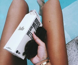 sunglasses, boxed water, and summer image