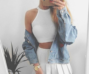 blonde and outfit image