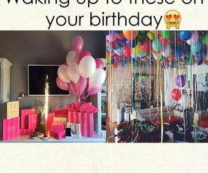 birthday, balloons, and gift image