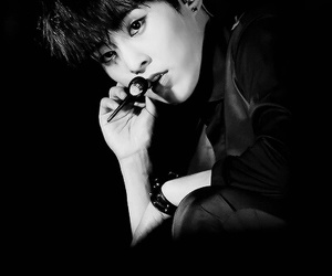 beautiful, black and white, and exo image