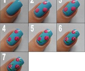 flores, uñas pintadas, and uñas image