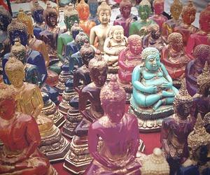 Buddha, technicolor, and thailand image