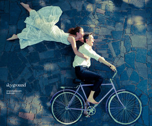 bicycle, couple, and Flying image