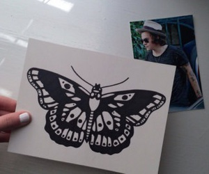 butterfly, draw, and Harry Styles image