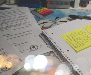 book, desk, and exam image