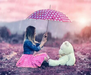 girl, umbrella, and pink image