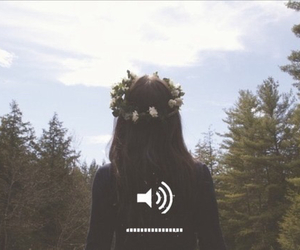 flower crown, forest, and grunge image