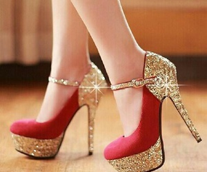 glitter, red, and shoes image