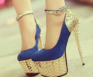 blue, gold, and shoes image