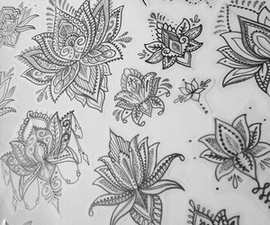 beautiful, flower, and ink image