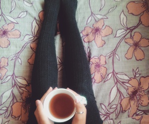 autumn, knee socks, and tea image