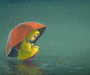 frog, rain, and girl image