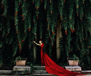 red, dress, and woman image