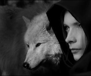 black and white, girl, and wolf image