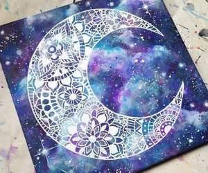 moon, drawing, and galaxy image