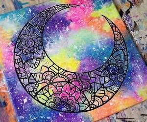 art, moon, and beautiful image
