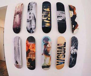 boy, sea, and skateboard image