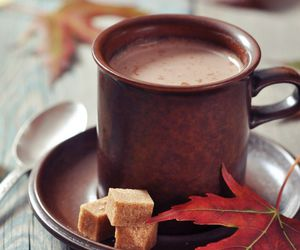 autumn, cup, and leaves image