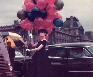 audrey hepburn, balloons, and vintage image