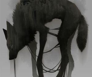 black, wolf, and gris image