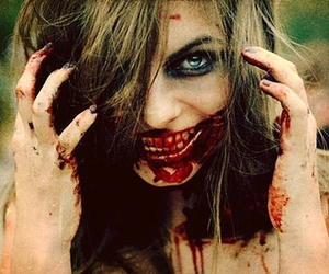 blood, girl, and zombie image