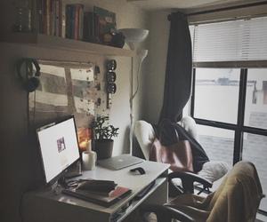 books, desk, and pencil image