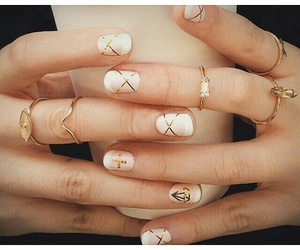 nails, gold, and style image