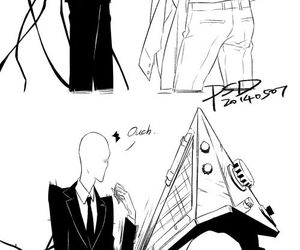 funny, slenderman, and pyramid head image