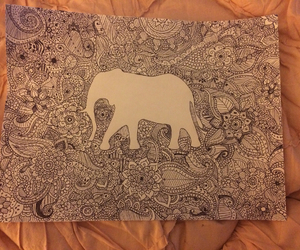art, doodle, and elephant image