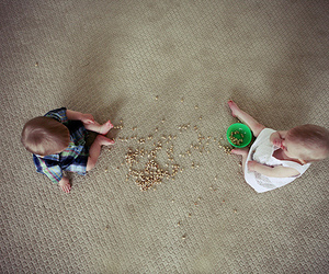 babies, twins, and cereal image
