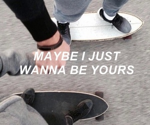 holding hands, skateboard, and yours image