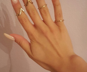 nails, rings, and creamy rose image