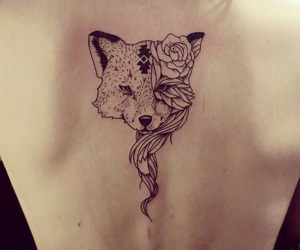 flower, fox, and tattoo image
