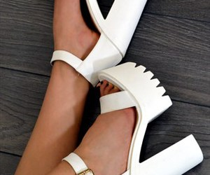 fashion, white, and high heels image