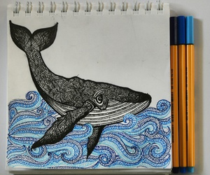art, whale, and zentangle image