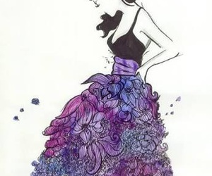 girl, dress, and drawing image