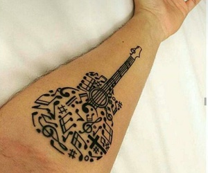 music, guitar, and tattoo image